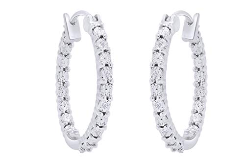 - Aria Jewels Inside Outside Miracle Plate Diamond Accent Hoop Huggies Earrings in 14K White Gold Over Sterling Silver For Women