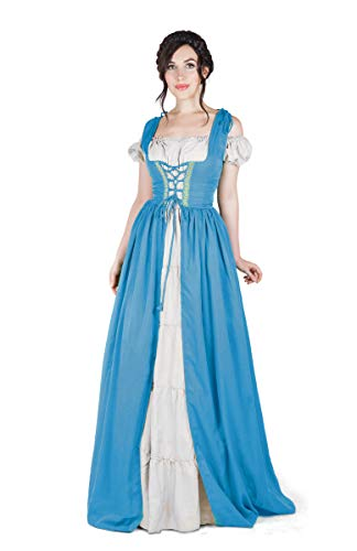 Boho Set Medieval Irish Costume Chemise and Over Dress (L/XL, French Blue/White) -