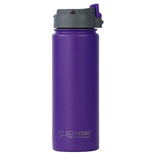 (EcoVessel PERK Vacuum Insulated Stainless Steel Coffee/Tea Travel Bottle with Push Button Locking Top - 20 oz - Purple Haze)