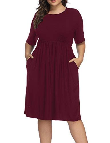 (Allegrace Women Plus Size Half Sleeve Round Neck Cocktail Midi Dress Ruffle Party Dresses Wine Red 4X)