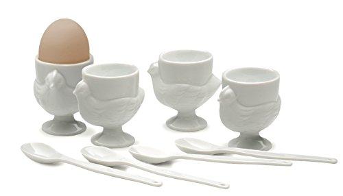 RSVP Porcelain Egg Cups and Spoons, Set of 4 by RSVP International (Image #2)