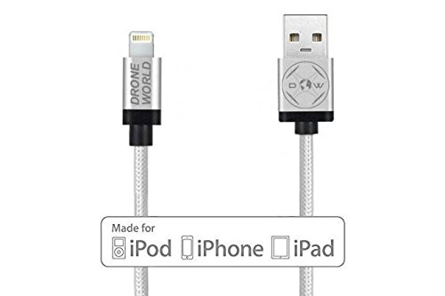 iPhone Lightening Cable 1ft Perfect Size for DJI Inspire 1 Phantom 4 Phantom 3 Remote Control Drone World Apple MFi Certified 12in Cord Nylon Braided for iPhone 7 7 Plus - Size Phantom