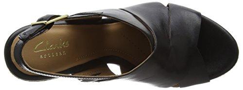 Clarks Amelia Dally - Sandalias de cuña Mujer Negro (Black Leather)