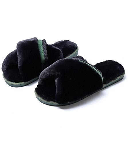 Damas Zapatillas 37 36 algodón Shenhai e de Felpa otoño de Transversal Zapatillas Negras Invierno de sección de de Zapatillas xUCfAXnzU