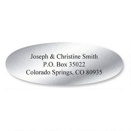 Silver Foil Oval Address Labels - Set of 240 2