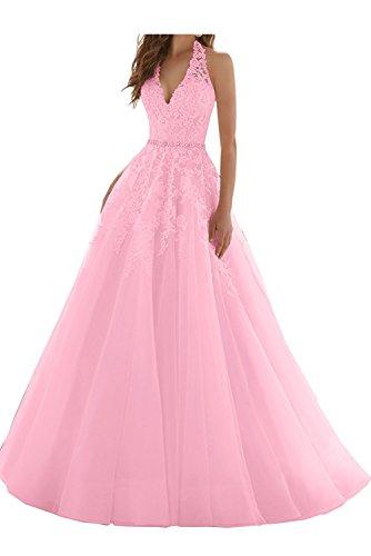 Spitze Braut Ballkleider V Neckholder Blau A Ausschnitt Rosa La Partykleider Linie Abendkleider Marie Prinzess qtwnFfA4A