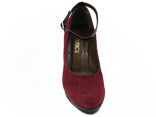 Hazards Red Dark Plateau Shoe Heels 9 Suede High 014 Strap Cm Oswald Womens Ankle Leather And Decolletè xZwSEZa