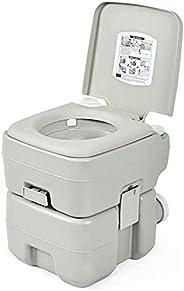 GYMAX Portable Toilet, Porta Potty RV Toilet with 5.3 Gallon Waste Tank & Flush Pump, Leakage Proof Campin