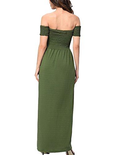 Auxo Mujer Faldas Seda Evening Dress Vestidos Largas sin Hombro Cintura Alta Novia Boda Verde ejército