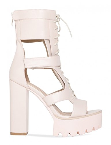 LAMODA Womens Lace up Platform Heels with Cut Out Detail in PU Nude zx9WTB2tT