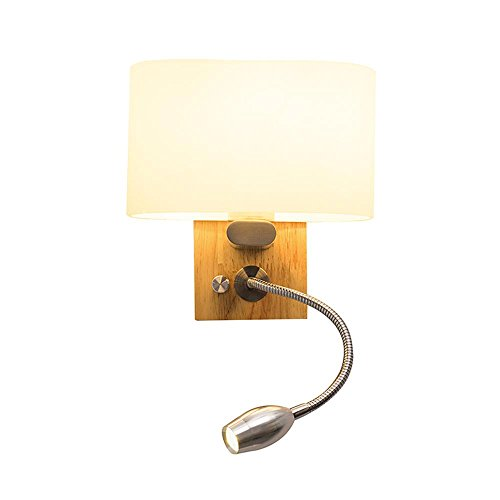 XUDONG Wall lamp Reading lamp Wall Light nightstand with Switch Bedroom LED Modern Glass Solid Wood Hose lamp Lighting Bedside lamp E27 1 Comes with 1W Hose LED Light Dimmer [Energy Class A +++]