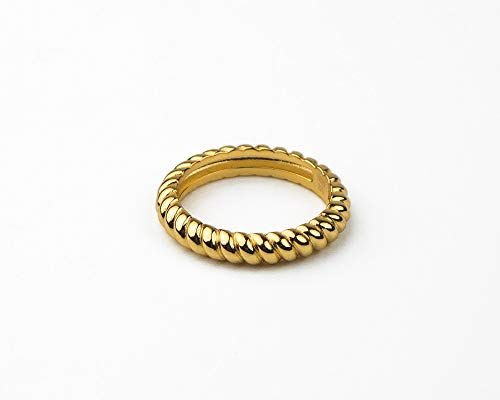 Valloey 14K Gold Filled Thin Beaded Full Bead Sterling Twisted Rope Black CZ Wedding Band Stacking Tiny Rings for Women(Thick Rope-5) ()