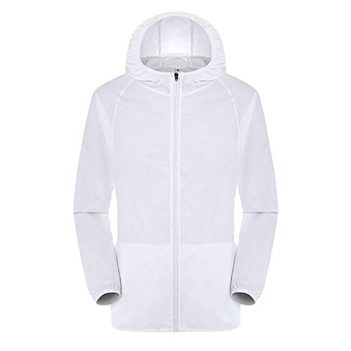 Realdo Mens Womens Sun Protection Jackets,Ultra Light Breathable Foldable Windproof Raincoat,Outdoors Casual Hooded Tops White