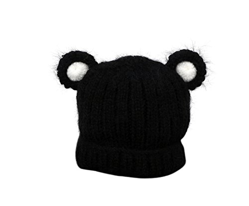 Jon Senkwok Cable Knit Hats For Kids Baby Boy Girl Soft Warm Bear Animal Beanie Hat (Black)