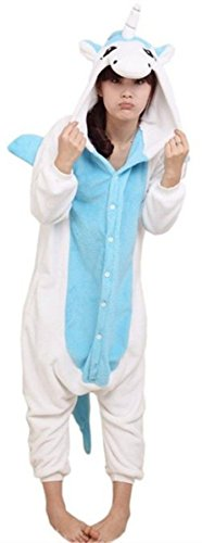 Teenage Animal Costumes - ABING Halloween Pajamas Homewear OnePiece Onesie Cosplay Costumes Kigurumi Animal Outfit Loungewear,Blue Unicorn Adult M -for Height 159-166CM