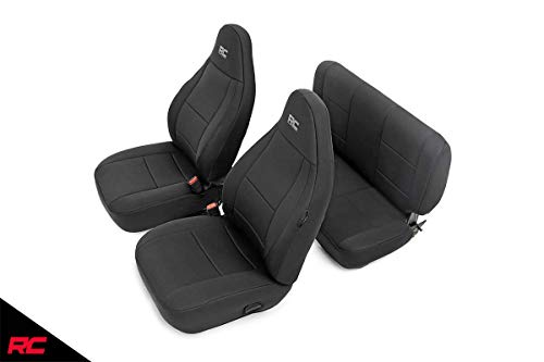 Rough Country 91000 Neoprene Seat Covers | (fits) Black 1997-2002 | Jeep Wrangler TJ | 1st/2nd Row/Water Resistant
