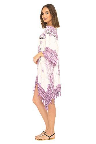 Amazon.com: Shu-SHI Mujer Corto Kaftan Kimono Poncho Midi ...