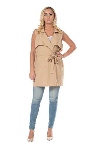 Women's Plus Neutral Sash Waist Trench Coat Long Blazer Jacket Waistcoat Vest (2XL)