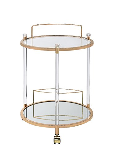 ACME Furniture Acme Todd Serving Cart, Clear Glass & Gold, One Size
