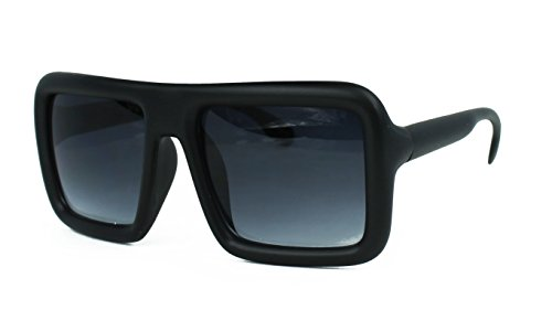 Oversized Square Hipster Thick Frame Unisex Rectangular Sunglasses (Matte - Glasses Black Big Thick