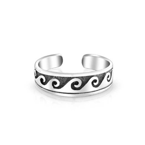 (Nautical Ocean Waves Midi Thin Band Toe Ring Oxidized 925 Silver Sterling Adjustable)