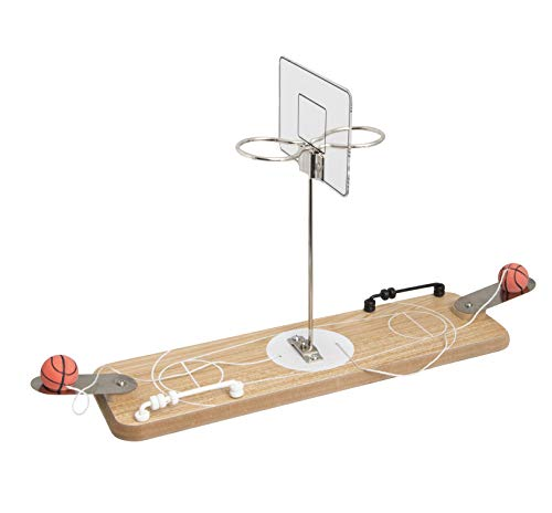 Refinery 2-Player Desktop Wooden Basketball Game, Vintage-Inspired Tabletop Hoops, Perfect for Office Desk, Coffee Table, or Man Cave, Keep Score with Sliding Rings -