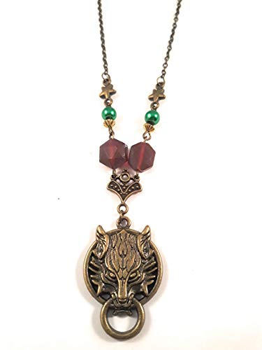 Handmade chain Demon Pendant Necklace Wine & Emerald bronze 18 inch chain Blackenedruby Jewelry -