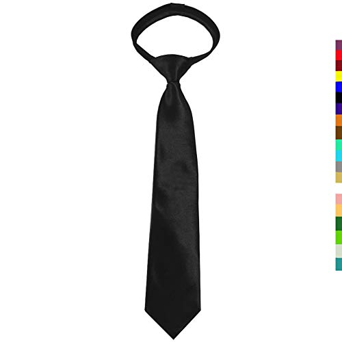 "CANGRON 15"" Tie for Youth Black Zipper Pre-Tied Tie Neckties with Giftbox LZC15HE"