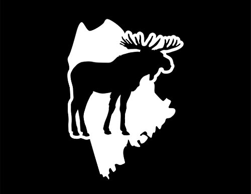 ND215W Maine Moose Decal Sticker | 6.5-Inches By 4.7-Inches | Premium Quality White - Singles In Portland Maine