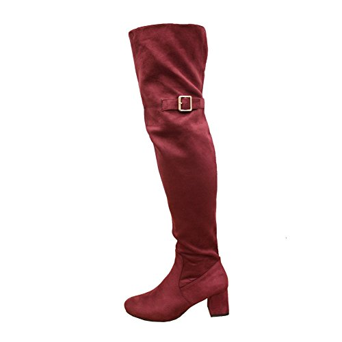 Saute Styles Womens Block Mid Heel Thigh High Over The Knee Wide Calf Boots Size 3-8 Red