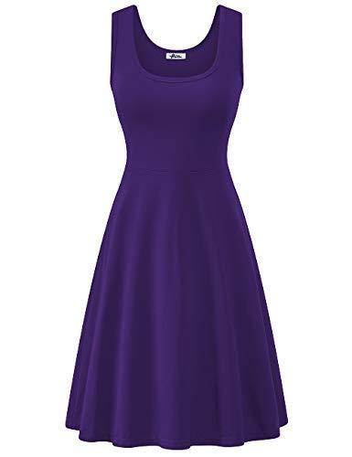 Herou Summer Spring Slim Dress for Women Casual Dark Purple X-Large