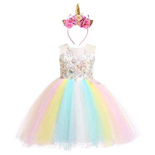 Weileenice 2-14T Girls Costume Cosplay Dress Rainbow Tulle 3D Embroidery Beading Princess Dresses (9-10 Years, Ivory/Rainbow(With ()