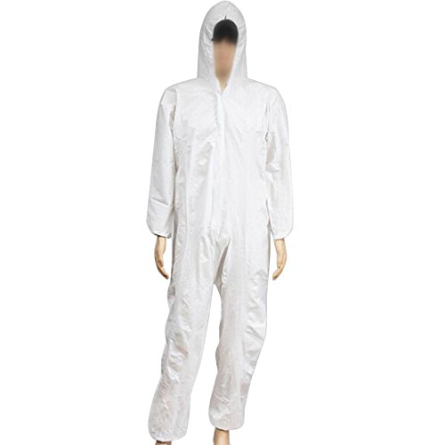 Zinnor Disposable Hooded Coveralls Chemical Protective Suits, Elastic Cuffs, Front Zipper Closure ,Serged Seams for Spray Painting Surgical Industrial (Large, White) by Zinnor (Image #5)