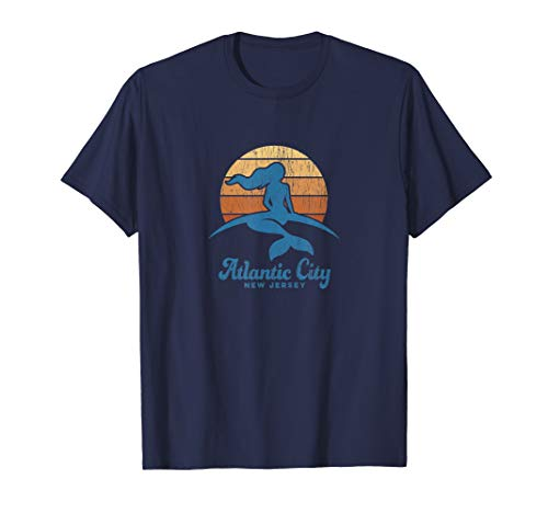 (Atlantic City NJ T-Shirt Vintage Mermaid 70s Sunset Tee)