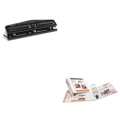 KITAVE05604UNV74323 - Value Kit - 17quot; Tan Burnish Floor Pads (AVE05604) and Universal 12-Sheet Deluxe Two- and Three-Hole Adjustable Punch (Burnish Floor Pad)