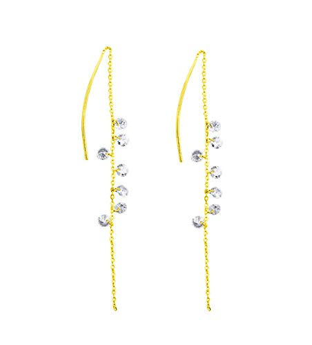 - FarryDream 925 Sterling Silver CZ Droplet Dangle Earrings Chain for Women Threader Earrings (yellow-gold-plated)