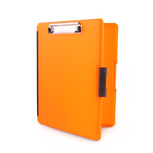 Dexas Slimcase 2 Storage Clipboard with Side Opening, Neon Orange (Storage Clips)