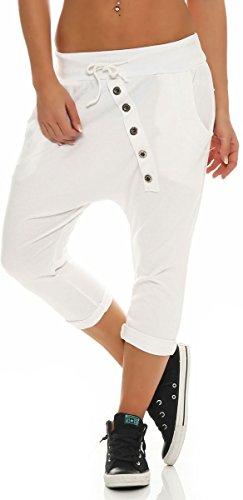 Donna Taglia malito Boyfriend con breve Bianco Pantaloni 8015 Unica bottone PPrY0x