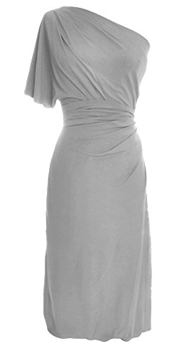 MACloth Women One Shoulder Jersey Cocktail Dress Short Wedding Party Formal Gown Plateado