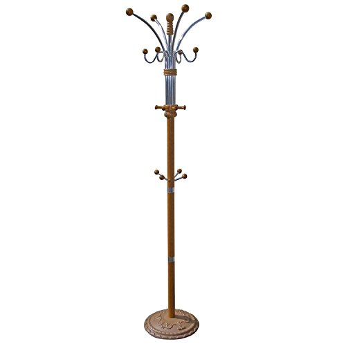 - 12 Hooks Chrome Coat Rack, Metal Base - Oak Finish, Stands 6 Feet Tall