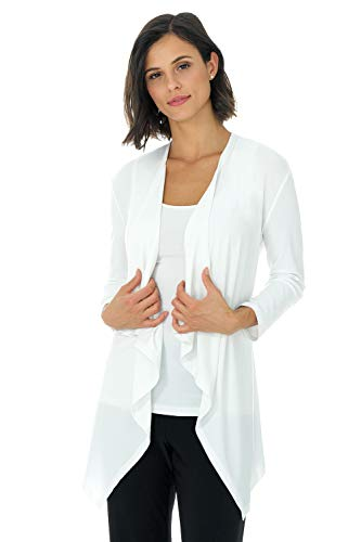 (Rekucci Travel in Style - Women's Essential Fluid Throw Over Jacket (Medium,Off White))