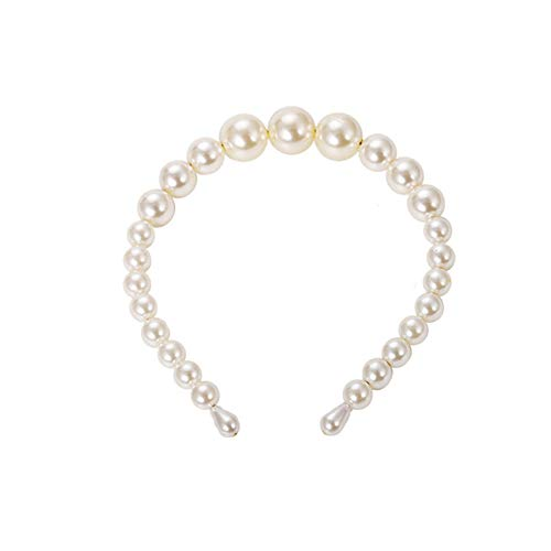 Big Pearl Headband for Women Elegant White Pearl Wedding Party Hair Accessories Bridal Headwear Hairband Head Hoop ...