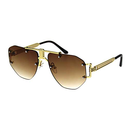 Mens Luxury Rimless Mobster Metal Rim Fashion Sunglasses Gold ()