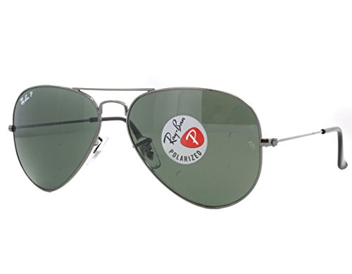 Ray-Ban Aviator RB 3025 019/W3 58mm Matte Silver Polarized Silver Mirror - Aviators Ban Men Ray