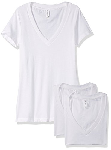 Clementine Apparel Women's Petite Plus Deep V Neck Tee (Pack of 3), White/White/White, XL by Clementine Apparel