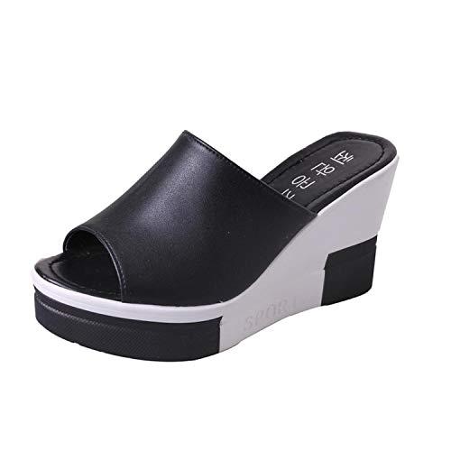 Women's Summer Sandals Shoes Peep Toe Shoes Roman Sandals Ladies Flip Flops Sandals Femme 2019 0507#30,Black,6.5,China (Counter Newcastle)