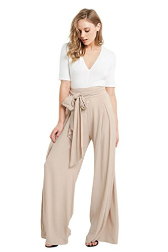 Poshsquare Womens Wide Leg Flare Box Pleat Palazzo High Tie Waist Textured Plus Pants Tan XL (Textured Pants Flare)