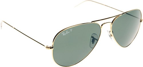 RAY BAN RB 3025 001/58 RAYBAN NATURAL GREEN POLARIZED LENS & ARISTA FRAME SIZE 55-14-135 SUNGLASSES ()