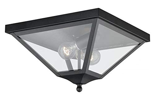 Textured Black Nottingham 2 Light Flush Mount Outdoor Ceiling Fixture with Clear Glass Shade - 13 Inches ()