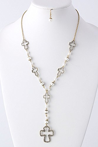 TRENDY FASHION JEWELRY MODIFIED ROSARY NECKLACE BY FASHION DESTINATION | (Gold/Pearl)